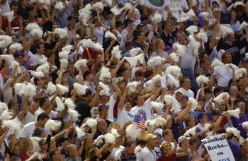 4 Nov 2001: Arizona Diamondback fans cheer during game seven of the Major League Baseball World Series at Bank One Ballpark in Phoenix, Arizona. The Diamondbacks won 3-2 to capture the World Series title. DIGITAL IMAGE. Mandatory Credit: Matthew Stockman/
