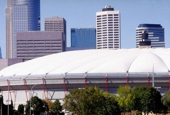 MINNEAPOLIS, MN -1992:  General view of the Hubert H. Humphrey Metrodome in Minneapolis Minnesota. (Photo by Jonathan Daniel/Getty Images)