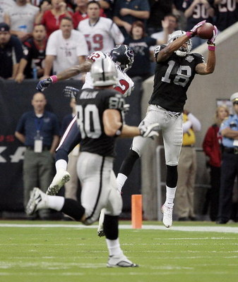 HOUSTON - OCTOBER 04:  Wide receiver Louis Murphy #18 of the Oakland  makes a reception as he beats cornerback Fred Benett #32 of the Houston Texans at Reliant Stadium on October 4, 2009 in Houston, Texas.  (Photo by Bob Levey/Getty Images)
