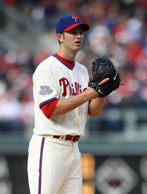 PHILADELPHIA - APRIL 08:  J.A. Happ #43 of the Philadelphia Phillies pitches against the Atlanta Braves at Citizens Bank Park on April 8, 2009 in Philadelphia, Pennsylvania.  (Photo by Nick Laham/Getty Images)