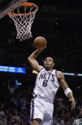 14 Jan 2002:  Forward Kenyon Martin #6 of the New Jersey Nets celebrates during the NBA game against the San Antonio Spurs at the Continental Airlines Arena in East Rutherford, New Jersey.  The Nets defeated the Spurs 99-97.  Mandatory Credit:  Jamie Squi