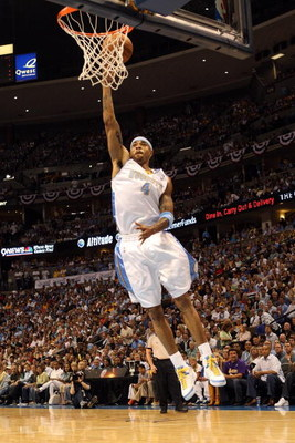 DENVER - MAY 29:  Kenyon Martin #4 of the Denver Nuggets goes up for a dunk in Game Six of the Western Conference Finals during the 2009 NBA Playoffs against the Los Angeles Lakers at Pepsi Center on May 29, 2009 in Denver, Colorado. NOTE TO USER: User ex