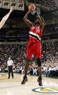 SEATTLE - APRIL 1:  Darius Miles #23 of the Portland Trail Blazers shoots against the Seattle Sonics during the game at Key Arena on April 1, 2005 in Seattle, Washington.  The Sonics won 89-87.  NOTE TO USER: User expressly acknowledges and agrees that, b