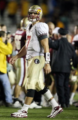 CHESTNUT HILL, MA - OCTOBER 03:  Christian Ponder #7 of the Florida State Seminoles walks off the field as the Boston College Eagles celebrate on October 3, 2009 at Alumni Stadium in Chestnut Hill, Massachusetts. Boston College defeated Florida State 28-2