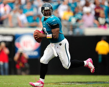 JACKSONVILLE, FL - OCTOBER 04:  David Garrard #9 of the Jacksonville Jaguars attempts a pass during the game against the Tennessee Titans at Jacksonville Municipal Stadium on October 4, 2009 in Jacksonville, Florida.  (Photo by Sam Greenwood/Getty Images)