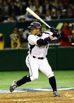 TOKYO - MARCH 05:  Infielder Akinori Iwamura #8 of Japan waits for a pitch during the World Baseball Classic Tokyo Round match between Japan and China at Tokyo Dome on March 5, 2009 in Tokyo, Japan.  (Photo by Junko Kimura/Getty Images)