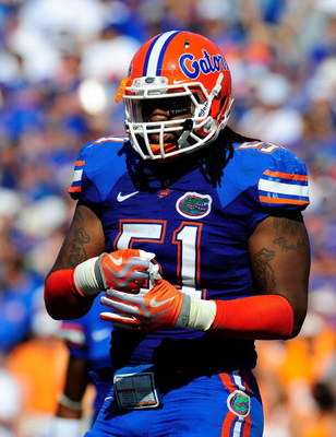 GAINESVILLE, FL - SEPTEMBER 19:  Brandon Spikes #51 of the Florida Gators pounds his fist during the game against the Tennessee Volunteers at Ben Hill Griffin Stadium on September 19, 2009 in Gainesville, Florida.  (Photo by Sam Greenwood/Getty Images)