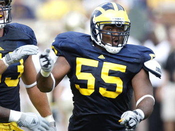 ANN ARBOR, MI - SEPTEMBER 05: Brandon Graham #55 of the Michigan Wolverines reacts after a second quarter sack while playing the Western Michigan Broncos on September 5, 2009 at Michigan Stadium in Ann Arbor, Michigan. Michigan won the game 31-7. (Photo b
