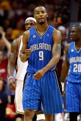 CLEVELAND - MAY 22: Rashard Lewis #9 of the Orlando Magic pumps his fist between plays against the Cleveland Cavaliers in Game Two of the Eastern Conference Finals during the 2009 Playoffs at Quicken Loans Arena on May 22, 2009 in Cleveland, Ohio. NOTE TO