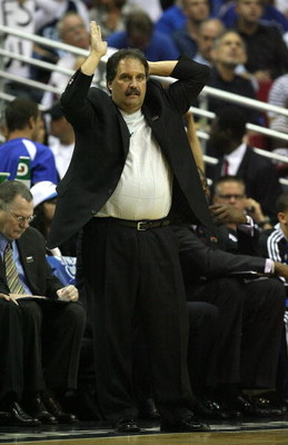 ORLANDO, FL - MAY 30: Head coach Stan Van Gundy of the Orlando Magic gestures from the sidelines against the Cleveland Cavaliers in Game Six of the Eastern Conference Finals during the 2009 Playoffs at Amway Arena on May 30, 2009 in Orlando, Florida. NOTE