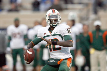 DURHAM, NC - OCTOBER 18: Quarterback  Jacory Harris #12 of the Miami Hurricanes looks to pass during the game against the Duke Blue Devils at Wallace Wade Stadium on October 18, 2008 in Durham, North Carolina.  (Photo by Kevin C. Cox/Getty Images)
