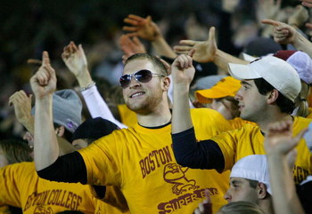 CHESTNUT HILL, MA - NOVEMBER 8: Fans of the Boston College Eagles reacts against the Notre Dame Fighting Irish on November 8, 2008 at Alumni Stadium in Chestnut Hill, Massachusetts.(Photo by Jim Rogash/Getty Images)