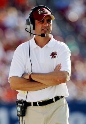 TAMPA, FL - DECEMBER 06:  Head coach Jeff Jagodzinski of the Boston College Eagles watches on the sidelines as his team falls behind by 20 points in the fourth quarter against the Virginia Tech Hokies in the 2008 ACC Football Championship game at the Raym