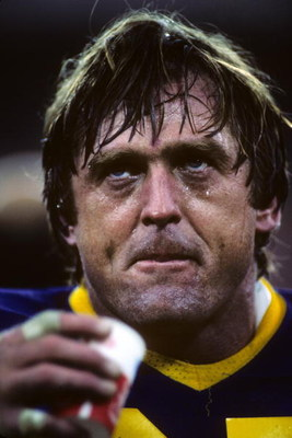 ANAHEIM, CA - NOVEMBER 20:  Defensive back Jack Youngblood #95 of the Los Angeles Rams looks on during the game against the Washington Redskins at Anaheim Stadium on November 20, 1983 in Anaheim, California.  The Redskins won 42-20.  (Photo by George Rose