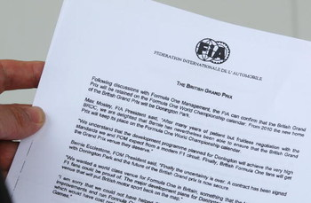 NORTHAMPTON, UNITED KINGDOM - JULY 04:  This photo illustration shows an FIA document relaying news of the change of venue of the British Grand Prix from 2010 to Donington Park , during practice for the British Formula One Grand Prix at Silverstone on Jul