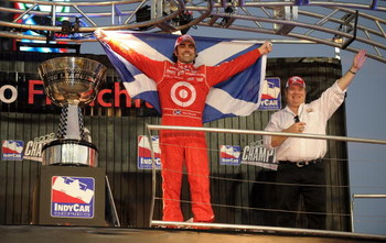 HOMESTEAD, FL - OCTOBER 10:  Dario Franchitti driver of the #10 Target Chip Ganassi Racing Dallara Honda celebrates with team owner Chip Ganassi after winning the IRL IndyCar Series Firestone Indy 300 and the IRL IndyCar Series Championship on October 10,