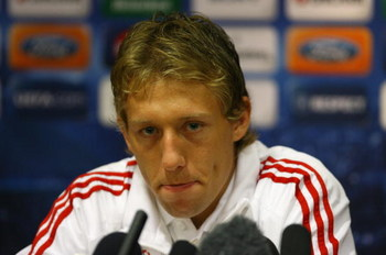 LIVERPOOL, ENGLAND - SEPTEMBER 15:  Lucas of Liverpool faces the media during a press conference at Anfield on September 15, 2009 in Liverpool, England.  (Photo by Alex Livesey/Getty Images)
