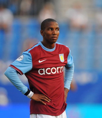MALAGA, SPAIN - JULY 29:  Ashley Young of Aston Villa reacts during the Peace Cup match against Atlante at the Rosaleda stadium on July 29, 2009 in Malaga, Spain.  (Photo by Denis Doyle/Getty Images)
