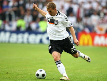 KLAGENFURT, AUSTRIA - JUNE 12: Lukas Podolski of Germany runs with the ball during the UEFA EURO 2008 Group B match between Croatia and Germany at Worthersee Stadion on June 12, 2008 in Klagenfurt, Austria.  (Photo by Martin Rose/Getty Images)