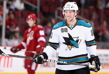 GLENDALE, AZ - SEPTEMBER 26:  Jason Demers #60 of the San Jose Sharks during the preseason NHL game against the Phoenix Coyotes at Jobing.com Arena on September 26, 2009 in Glendale, Arizona.  The Coyotes defeated the Sharks 2-0.  (Photo by Christian Pete