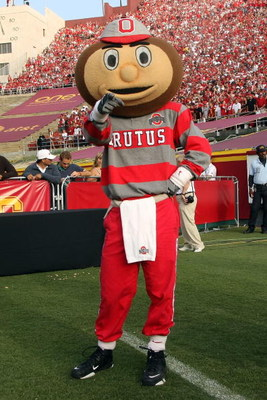 LOS ANGELES, CA - SEPTEMBER 13:  Ohio State mascot Brutus Buckeye poses for a photo prior to the Buckeyes 35-3 loss to the USC Trojans at the Los Angeles Memorial Coliseum on September 13, 2008 in Los Angeles, California.  (Photo by Stephen Dunn/Getty Ima