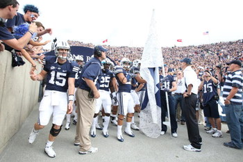 PROVO, UT. - SEPTEMBER 19:  Max Hall #15 of the Brigham Young Cougars enters the stadium while the rest of the team waits to be announced before a game against the Florida State Seminoles at La Vell Edwards Stadium on September 19, 2009 in Provo, Utah.  (