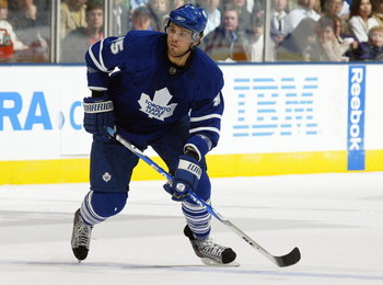 TORONTO, ON - SEPTEMBER 26:  Viktor Stalberg #45 of the Toronto Maple Leafs skates in a pre-season game against the Detroit Red Wings on September 26, 2009 at the Air Canada Centre in Toronto, Ontario. The Leafs defeated the Red Wings 2-1. (Photo by Claus