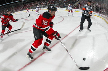 NEWARK, NJ - SEPTEMBER 24: Nicklas Bergfors #18 of the New Jersey Devils skates against the New York Rangers on September 24, 2008 at the Prudential Center in Newark, New Jersey. (Photo by Bruce Bennett/Getty Images)