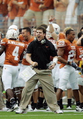 AUSTIN, TX - SEPTEMBER 5:  Defensive coordinator Will Muschamp of the Texas Longhorns reacts after a turnover by the Louisiana Monroe Warhawks in the first quarter of their game on September 5, 2009 at Darrell K Royal-Texas Memorial Stadium in Austin, Tex