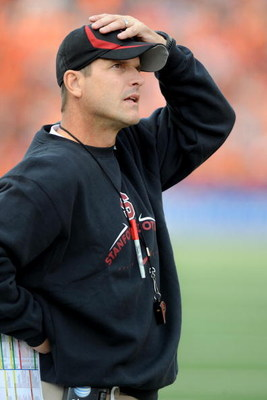 CORVALLIS, OR - OCTOBER 10: Head coach Jim Harbaugh of the Stanford Cardinals looks on from the sidelines in the first quarter of the game against the Oregon State Beavers at Reser Stadium on October 10, 2009 in Corvallis, Oregon. (Photo by Steve Dykes/Ge