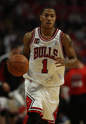 CHICAGO - APRIL 26: Derrick Rose #1 of the Chicago Bulls brings the ball upcourt against the Boston Celtics in Game Four of the Eastern Conference Quarterfinals during the 2009 NBA Playoffs at the United Center on April 26, 2009 in Chicago, Illinois. The