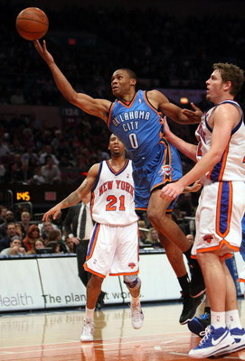 NEW YORK - NOVEMBER 14:  Russell Westbrook #0 of the Oklahoma City Thunder lays the ball up against New York Knicks on November 14, 2008 at Madison Square Garden in New York City, New York. NOTE TO USER: User expressly acknowledges and agrees that, by dow