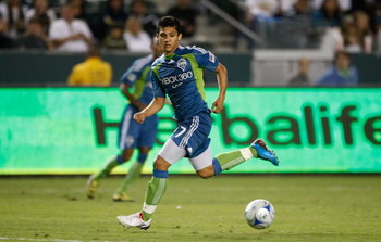 CARSON, CA - AUGUST 15:  Fredy Montero #17 of the Seattle Sounders FC runs with the ball against the Los Angeles Galaxy at the Home Depot Center on August 15, 2009 in Carson, California. Sounders FC defeated the Galaxy 2-0.  (Photo by Jeff Gross/Getty Ima