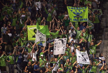 CARSON, CA - AUGUST 15:  Seattle Sounders FC fans attending the match between Seattle Sounders FC and the Los Angeles Galaxy react after a goal by Fredy Montero #17 of Seattle Sounders FC in the second half during the MLS match at The Home Depot Center on