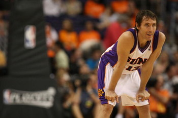 PHOENIX - APRIL 25:  Steve Nash #13 of the Phoenix Suns looks on near the end the game against the San Antonio Spurs during Game Three of the Western Conference Quarterfinals during the 2008 at NBA Playoffs at the at U.S. Airways Center on April 25, 2008.