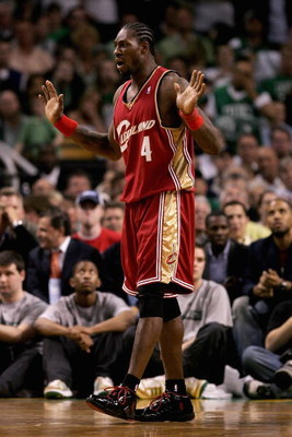 BOSTON - MAY 6:  Ben Wallace #4 of the Cleveland Cavaliers reacts in the game against the Boston Celtics in Game One of the Eastern Conference Semifinals during the 2008 NBA Playoffs on May 6, 2008 at TD Banknorth Garden in Boston, Massachusetts.  The Cel