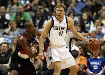 DALLAS - FEBRUARY 04:  Dirk Nowitzki #41 of the Dallas Mavericks during play against the Portland Trail Blazers on February 4, 2009 at American Airlines Center in Dallas, Texas.  NOTE TO USER: User expressly acknowledges and agrees that, by downloading an