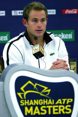 SHANGHAI, CHINA - OCTOBER 13:  Andy Roddick of the United States fields questions from the media at a press conference after retiring from his match against Stanilas Wawrinka of Switzerland during the 2009 Shanghai ATP Masters 1000 at Qi Zhong Tennis Cent