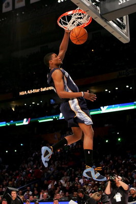 NEW ORLEANS - FEBRUARY 16:  Rudy Gay of the Memphis Grizzlies participates in the Sprite Slam Dunk Contest, part of 2008 NBA All-Star Weekend at the New Orleans Arena on February 16, 2008 in New Orleans, Louisiana.  NOTE TO USER: User expressly acknowledg