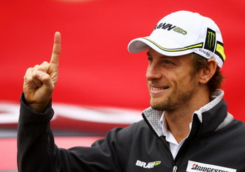 LONDON, ENGLAND - OCTOBER 20:  New Formula One World Champion Jenson Button of Great Britain and Brawn GP poses for Virgin Media's SpeedWeek50 photocall at Bluewater Shopping Centre on October 20, 2009 in London, England.  (Photo by Paul Gilham/Getty Imag