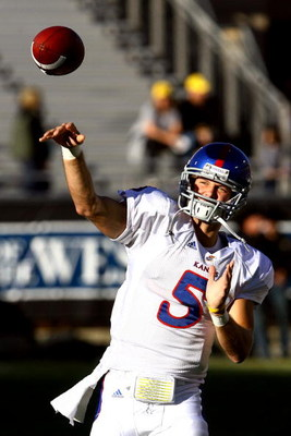 BOULDER, CO - OCTOBER 17: Todd Reesing #5 of the Kansas Jayhawks throws a pass against the Colorado Buffaloes during the game at Folsom Field on October 17, 2009 in Boulder, Colorado. (Photo by Garrett W. Ellwood/Getty Images)