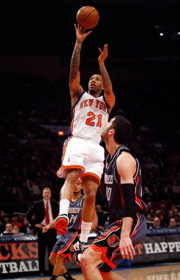 NEW YORK - MARCH 07:  Wilson Chandler #21 of the New York Knicks shoots the ball against the Charlotte Bobcats on March 7, 2009 at Madison Square Garden in New York City. NOTE TO USER: User expressly acknowledges and agrees that, by downloading and or usi