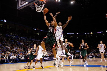 OKLAHOMA CITY - OCTOBER 29:  Richard Jefferson #24 of the Milwaukee Bucks makes a shot over Jeff Green #22 of the Oklahoma City Thunder at the Ford Center on October 29, 2008 in Oklahoma City, Oklahoma. NOTE TO USER: User expressly acknowledges and agrees