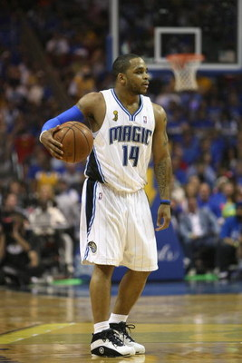 ORLANDO, FL - JUNE 14:  Jameer Nelson #14 of the Orlando Magic moves the ball against the Los Angeles Lakers in Game Five of the 2009 NBA Finals on June 14, 2009 at Amway Arena in Orlando, Florida. The Lakers won 99-86. NOTE TO USER:  User expressly ackno