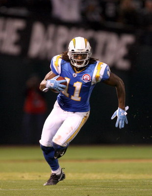 OAKLAND, CA - SEPTEMBER 14:  Legedu Naanee #11 of the San Diego Chargers runs with the ball during their game against the Oakland Raiders on September 14, 2009 at the Oakland-Alameda County Coliseum in Oakland, California.  (Photo by Ezra Shaw/Getty Image