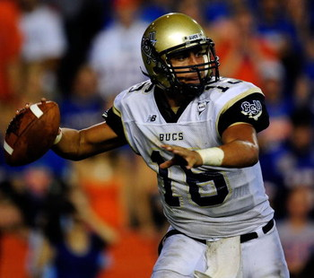 GAINESVILLE, FL - SEPTEMBER 5:  Quarterback A.J. Toscano #16 of the Charleston Southern Buccaneers attempts a pass during the game against the Florida Gators at Ben Hill Griffin Stadium on September 5, 2009 in Gainesville, Florida.  (Photo by Sam Greenwoo