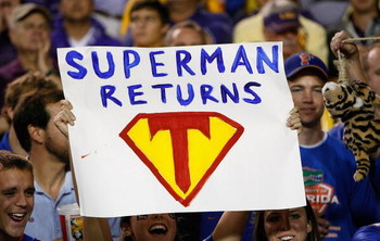 BATON ROUGE, LA - OCTOBER 10:  A fan of the Florida Gators holds up a sign about quarterback Tim Tebow #15 (not pictured) during the game against the Louisiana State University Tigers at Tiger Stadium on October 10, 2009 in Baton Rouge, Louisiana.  (Photo