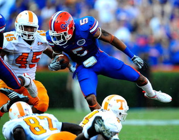 GAINESVILLE, FL - SEPTEMBER 19:  Joe Haden #5 of the Florida Gators dives for yardage during the game against the Tennessee Volunteers at Ben Hill Griffin Stadium on September 19, 2009 in Gainesville, Florida.  (Photo by Sam Greenwood/Getty Images)