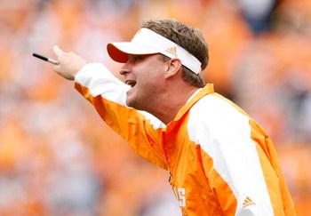 KNOXVILLE, TN - OCTOBER 10: Lane Kiffin the Head Coach of the Tennessee Volunteers is pictured during the SEC game against the Georgia Bulldogs at Neyland Stadium on October 10, 2009 in Knoxville, Tennessee. (Photo by Andy Lyons/Getty Images)