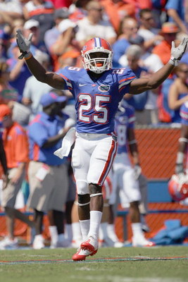 GAINESVILLE, FL - SEPTEMBER 27:  Brandon James #25 of the Florida Gators celebrates on the field during the game against the Mississippi Rebels at Ben Hill Griffin Stadium on September 27, 2008 in Gainesville, Florida.  (Photo by Sam Greenwood/Getty Image